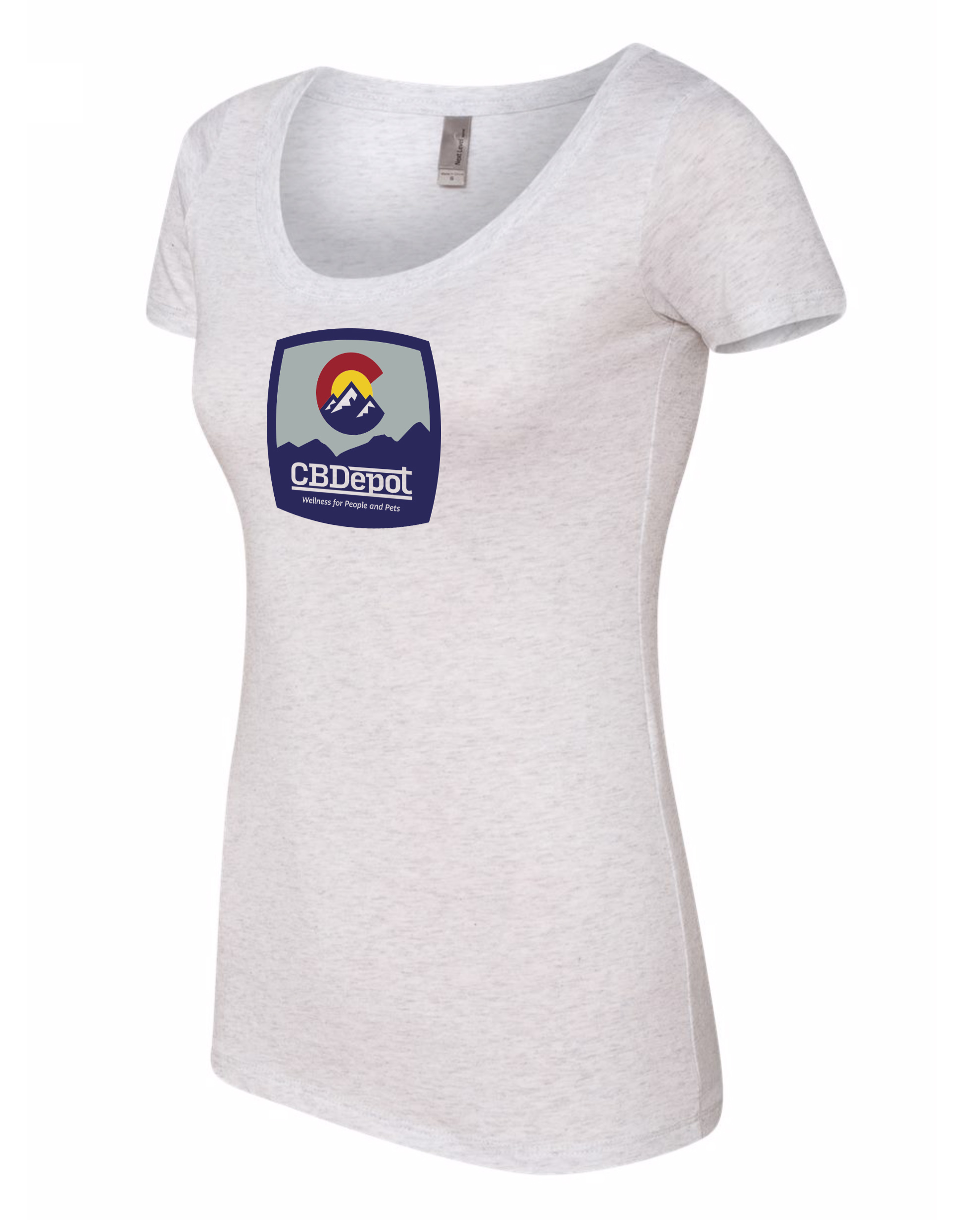 Image for CBDepot - White Scoop Neck Logo Shirt
