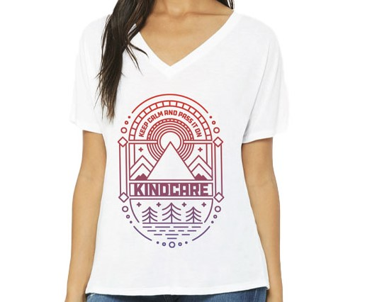 "Image of Kind Care of Colorado – White ""Keep Calm"" Deep V-Neck Shirt"